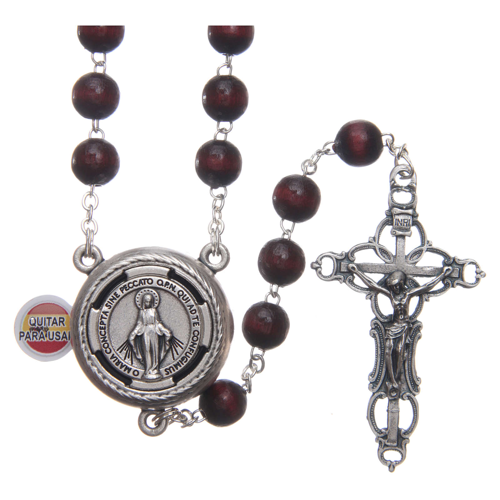 Rosary in burgundy wood with talking center piece Pope Francis prayer spanish 8 mm 4