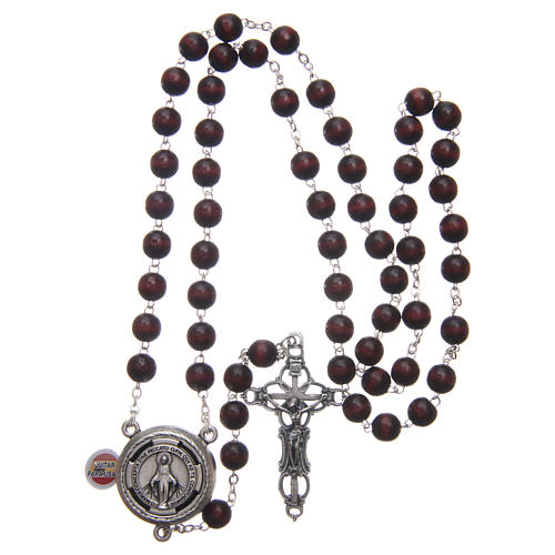Rosario Madera Burdeos con Pieza Central Parlante Oración Papa Francisco ESP 8 mm 4