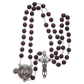 Rosary in burgundy wood with talking center piece Pope Francis prayer spanish 8 mm s4