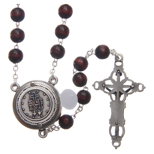 Rosary in burgundy wood with talking center piece Pope Francis prayer spanish 8 mm 2