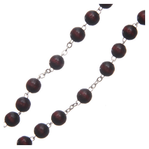 Rosary in burgundy wood with talking center piece Pope Francis prayer spanish 8 mm 3
