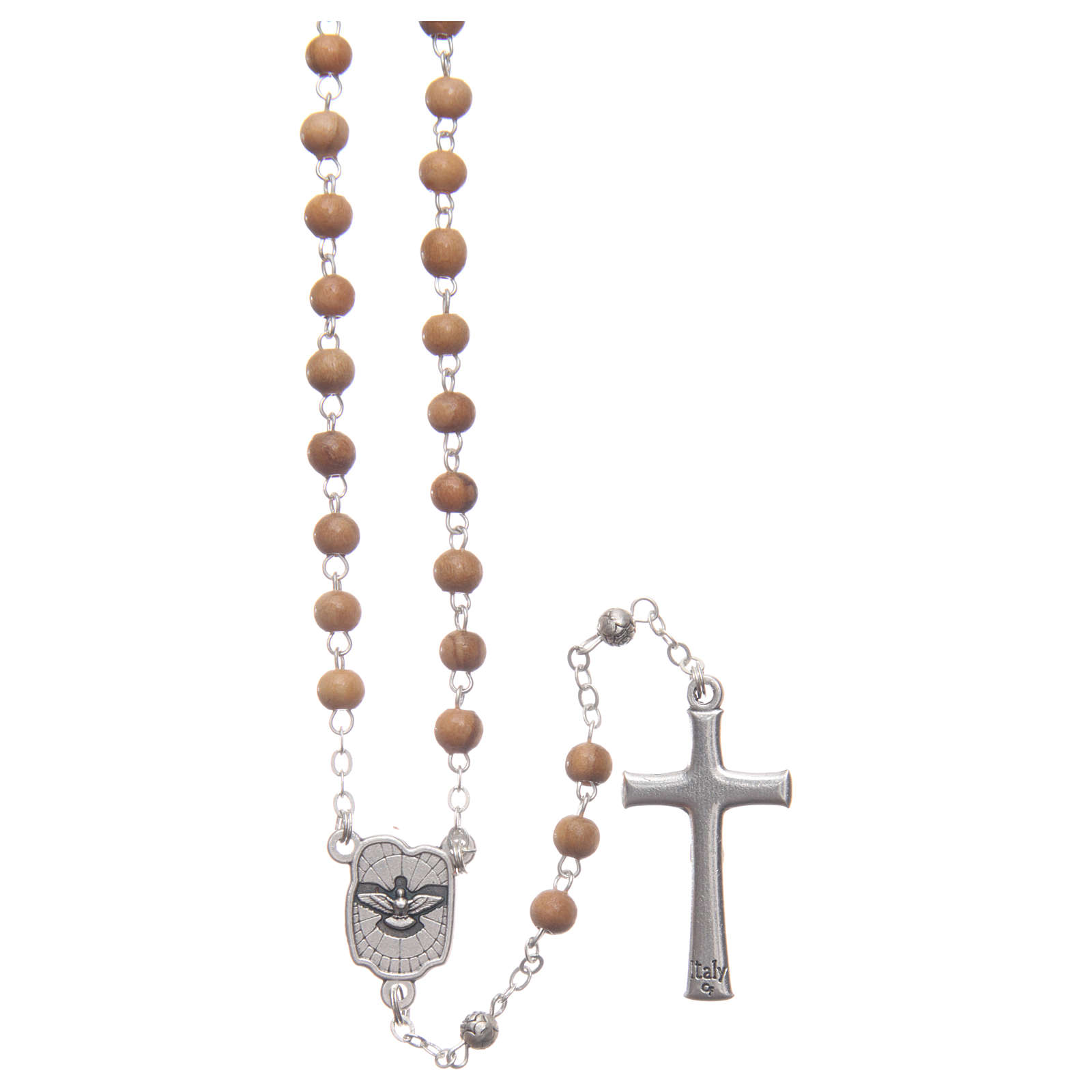Flower case in olive wood with wooden rosary 5 mm 4