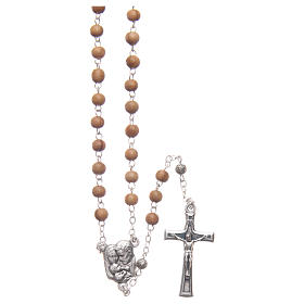 Flower case in olive wood with wooden rosary 5 mm s3