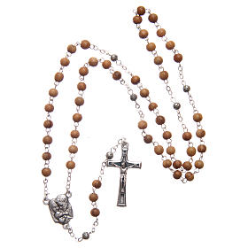 Flower case in olive wood with wooden rosary 5 mm s6