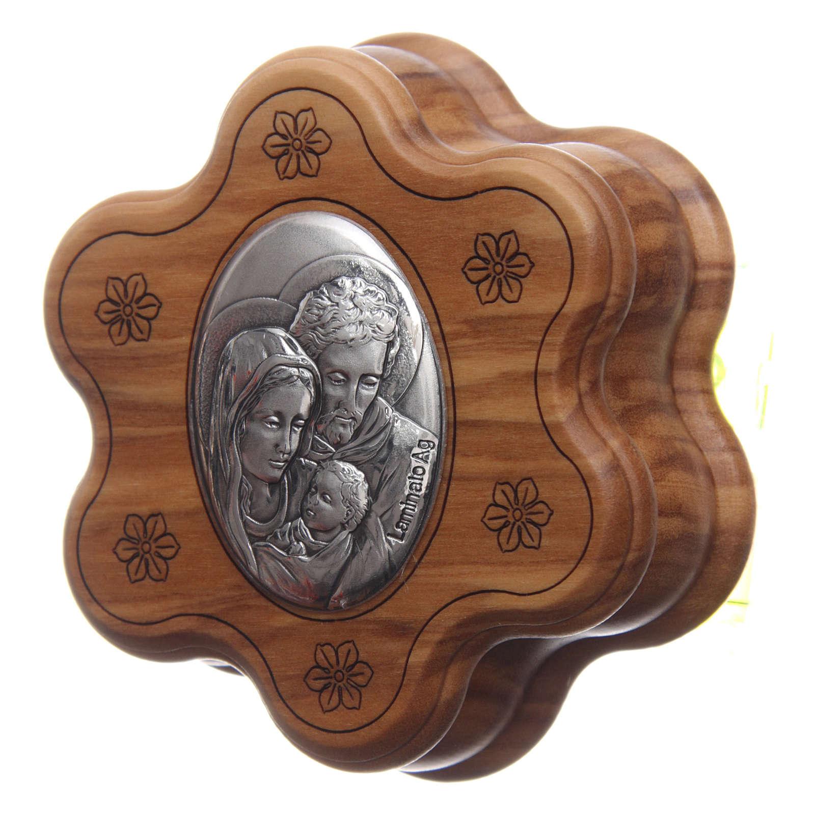 Cofanetto a fiore in olivo con rosario in legno 5 mm 4