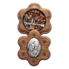 Terços em Madeira: Caixinha em flor oliveira com terço em madeira 5 mm