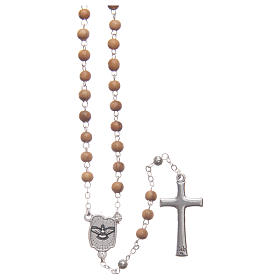Flower case in olive wood with wooden rosary 5 mm s4