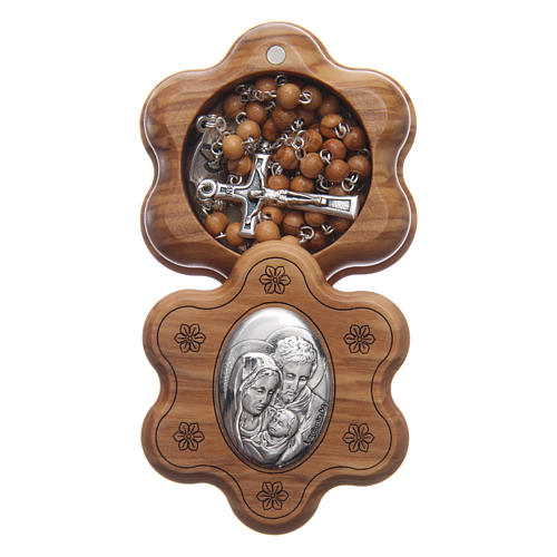 Flower case in olive wood with wooden rosary 5 mm 1
