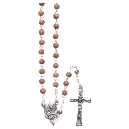 Flower case in olive wood with wooden rosary 5 mm 3