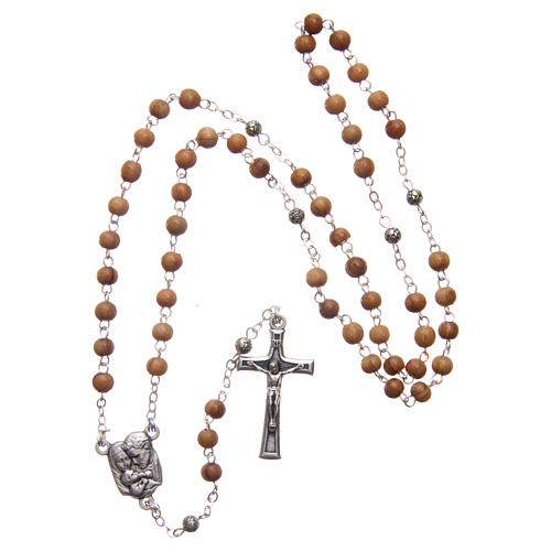 Flower case in olive wood with wooden rosary 5 mm 6