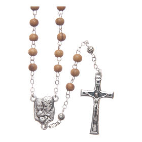 Oval case in olive wood with wooden rosary 5 mm s3