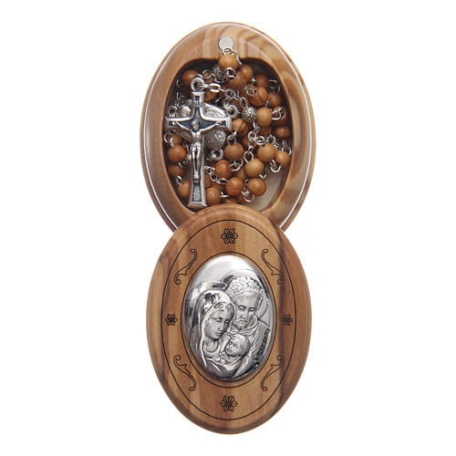 Oval case in olive wood with wooden rosary 5 mm 1