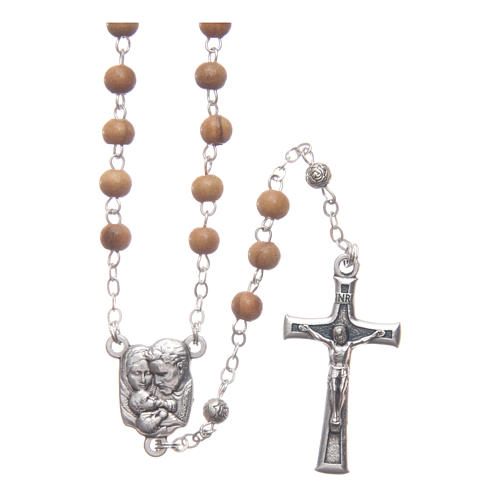 Oval case in olive wood with wooden rosary 5 mm 3