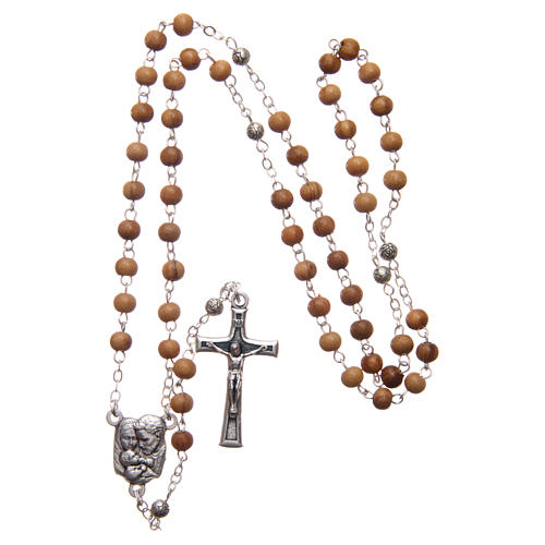 Oval case in olive wood with wooden rosary 5 mm 6