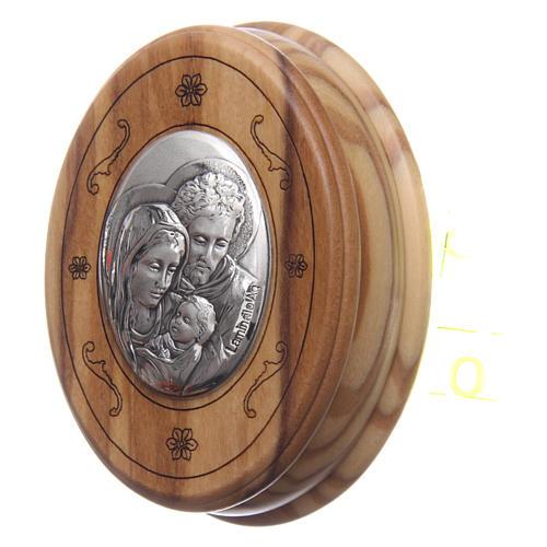 Scatola ovale in olivo con rosario in legno 5 mm 2