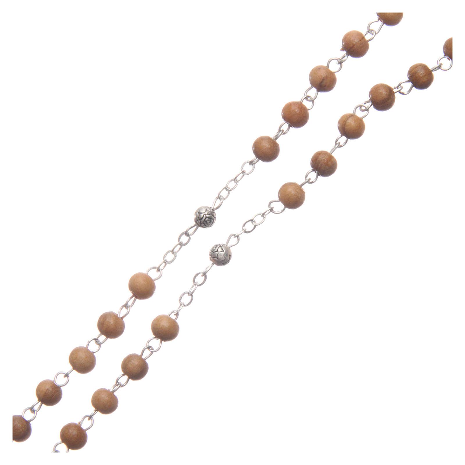 Szkatułka owalna z drewna oliwnego z różańcem z drewna 5 mm 4