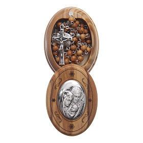 Szkatułka owalna z drewna oliwnego z różańcem z drewna 5 mm s1