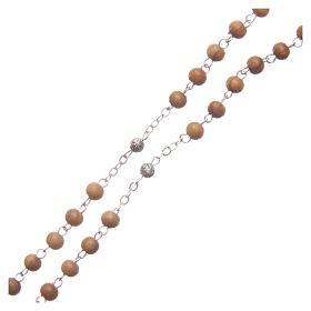 Szkatułka owalna z drewna oliwnego z różańcem z drewna 5 mm s5