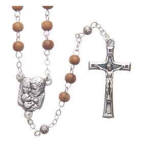 Caja corazón de olivo con rosario de madera 5 mm s3