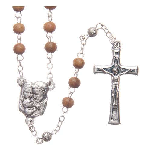 Caja corazón de olivo con rosario de madera 5 mm 3