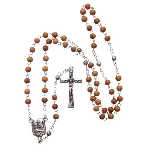 Caja corazón de olivo con rosario de madera 5 mm 6