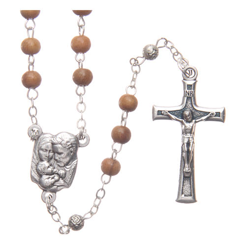 Scatola a cuore in olivo con rosario in legno 5 mm 3