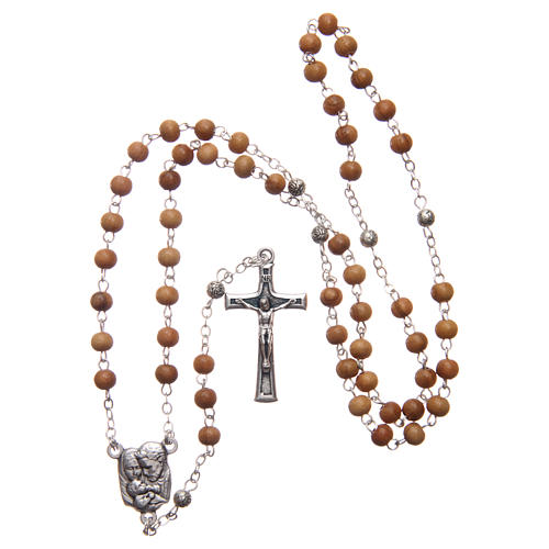 Scatola a cuore in olivo con rosario in legno 5 mm 6