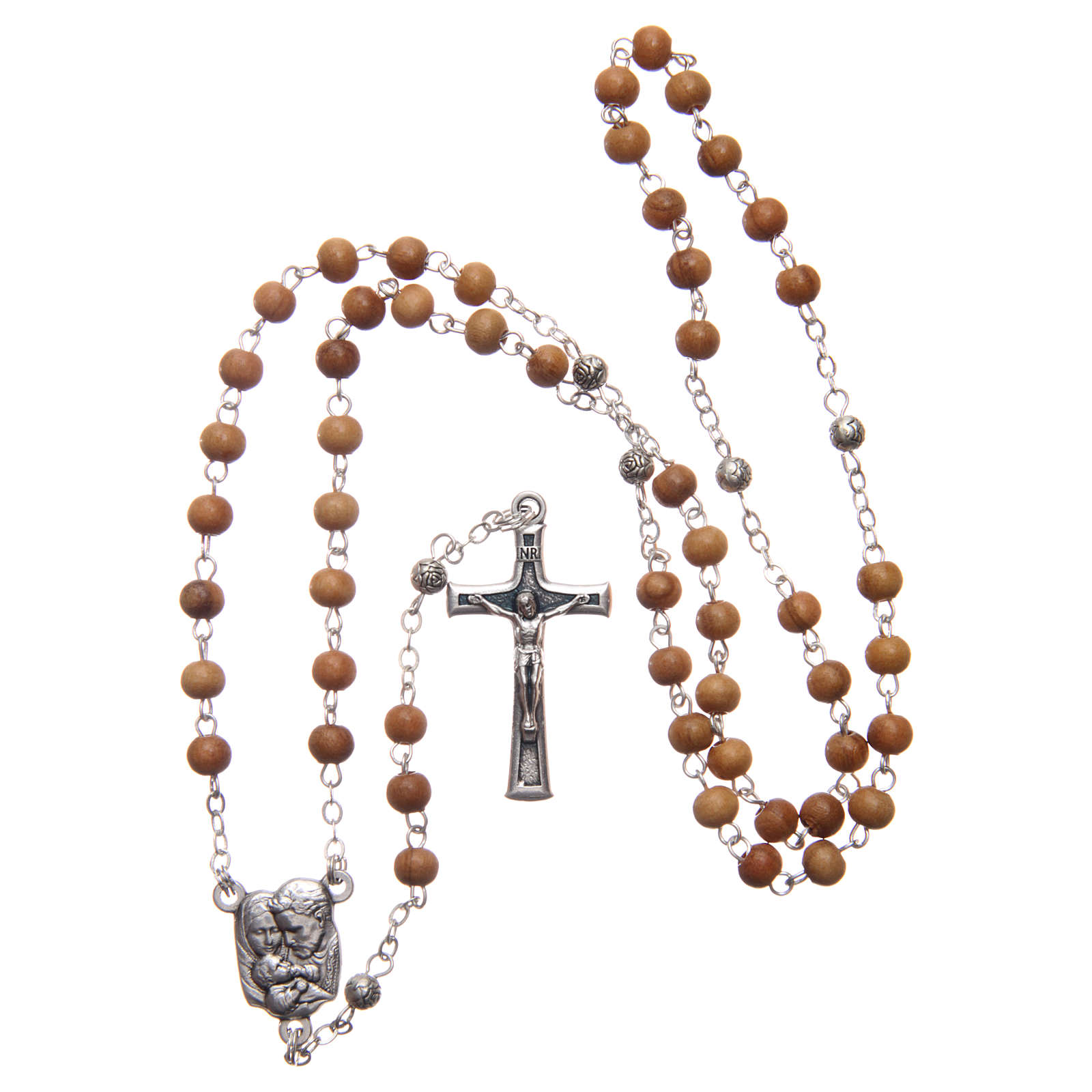 Heart case in olive wood with wooden rosary 5 mm 4