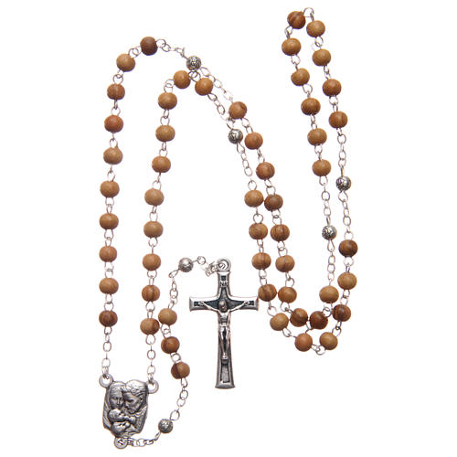 Square case in olive wood with wooden rosary 5 mm 6