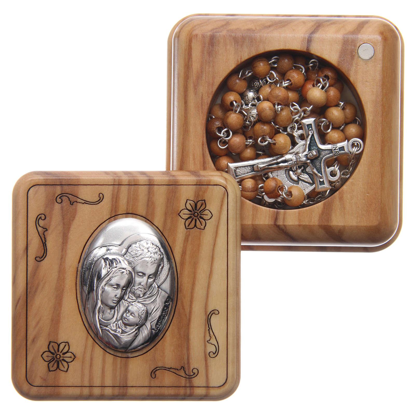 Szkatułka kwadratowa z drewna oliwnego z różańcem z drewna 5 mm 4