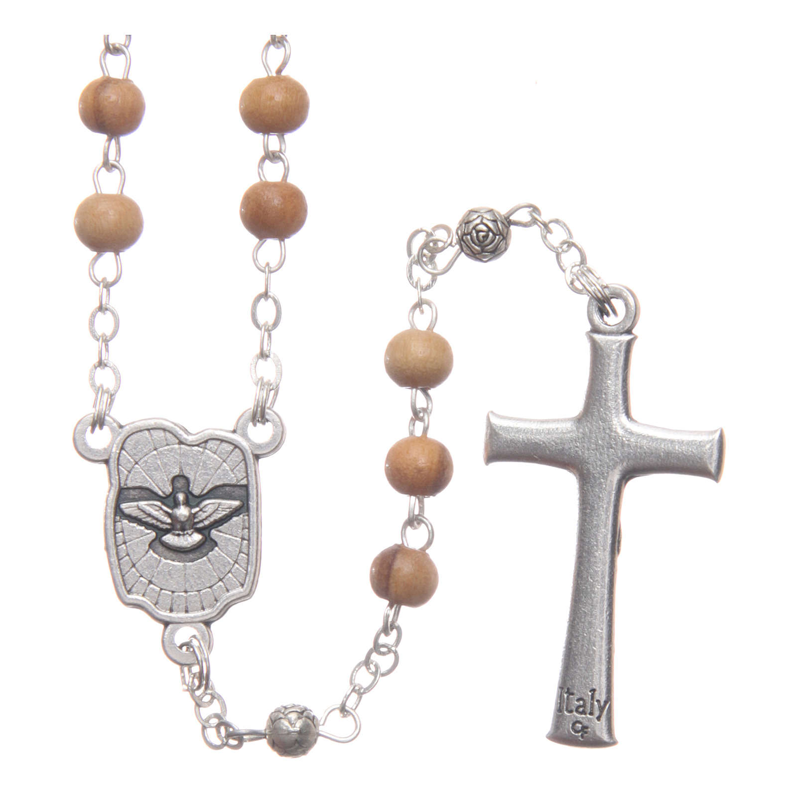 Square case in olive wood with wooden rosary 5 mm 4