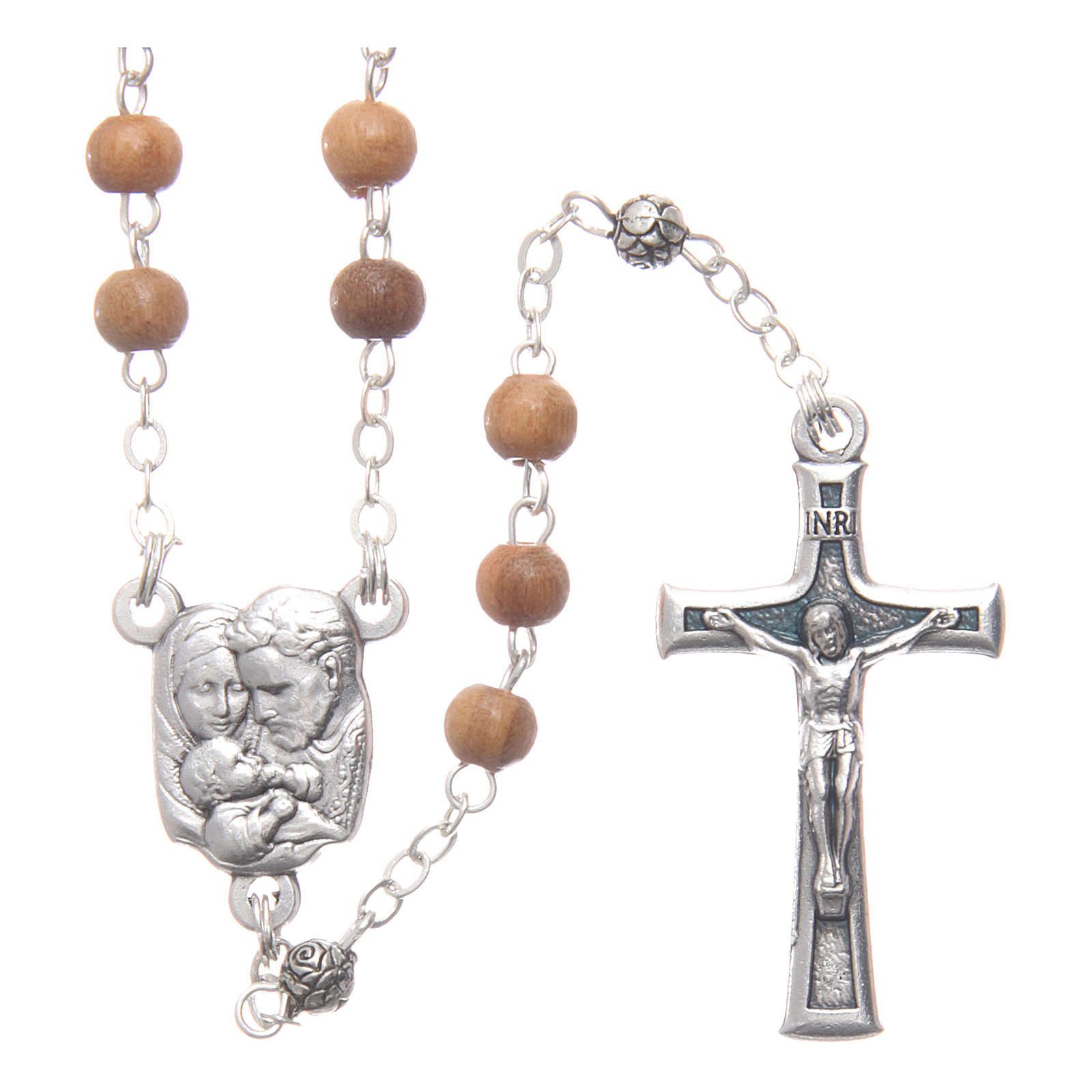 Caja de olivo imagen Sagrada Familia con rosario de madera 5 mm 4