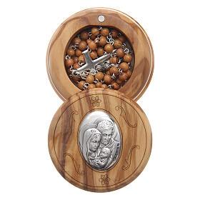 Caja de olivo imagen Sagrada Familia con rosario de madera 5 mm s1