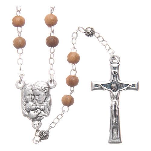 Caja de olivo imagen Sagrada Familia con rosario de madera 5 mm 3
