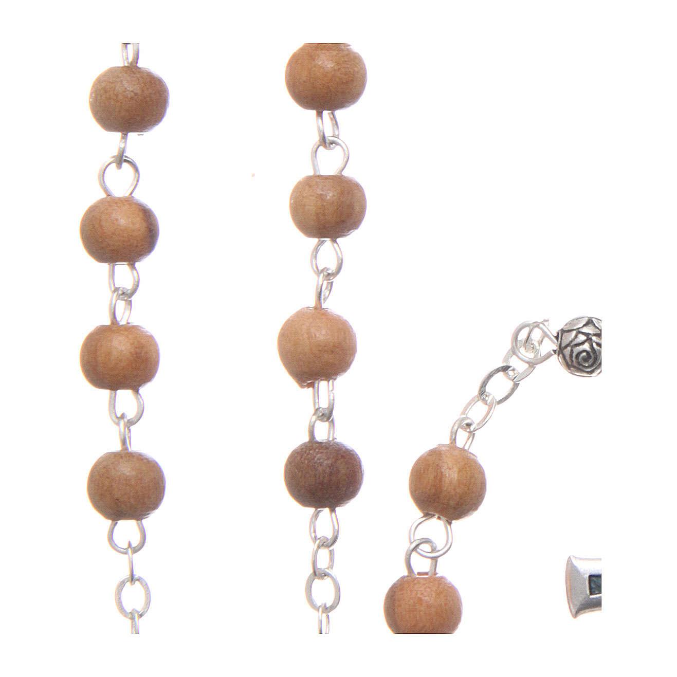 Szkatułka z drewna oliwnego Święta Rodzina z różańcem z drewna 5 mm okrągła 4