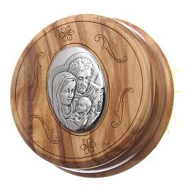 Szkatułka z drewna oliwnego Święta Rodzina z różańcem z drewna 5 mm okrągła s2