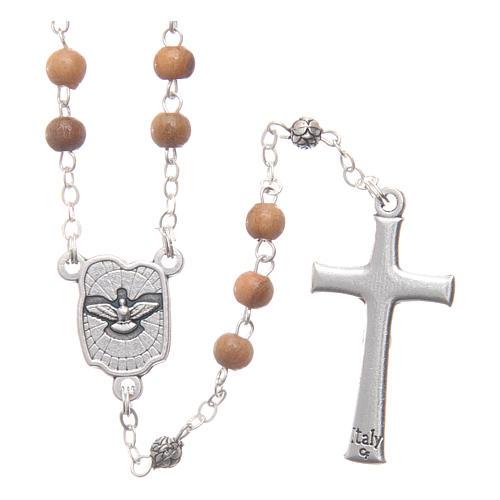 Caixinha em oliveira imagem Sagrada Família com terço em madeira 5 mm 4