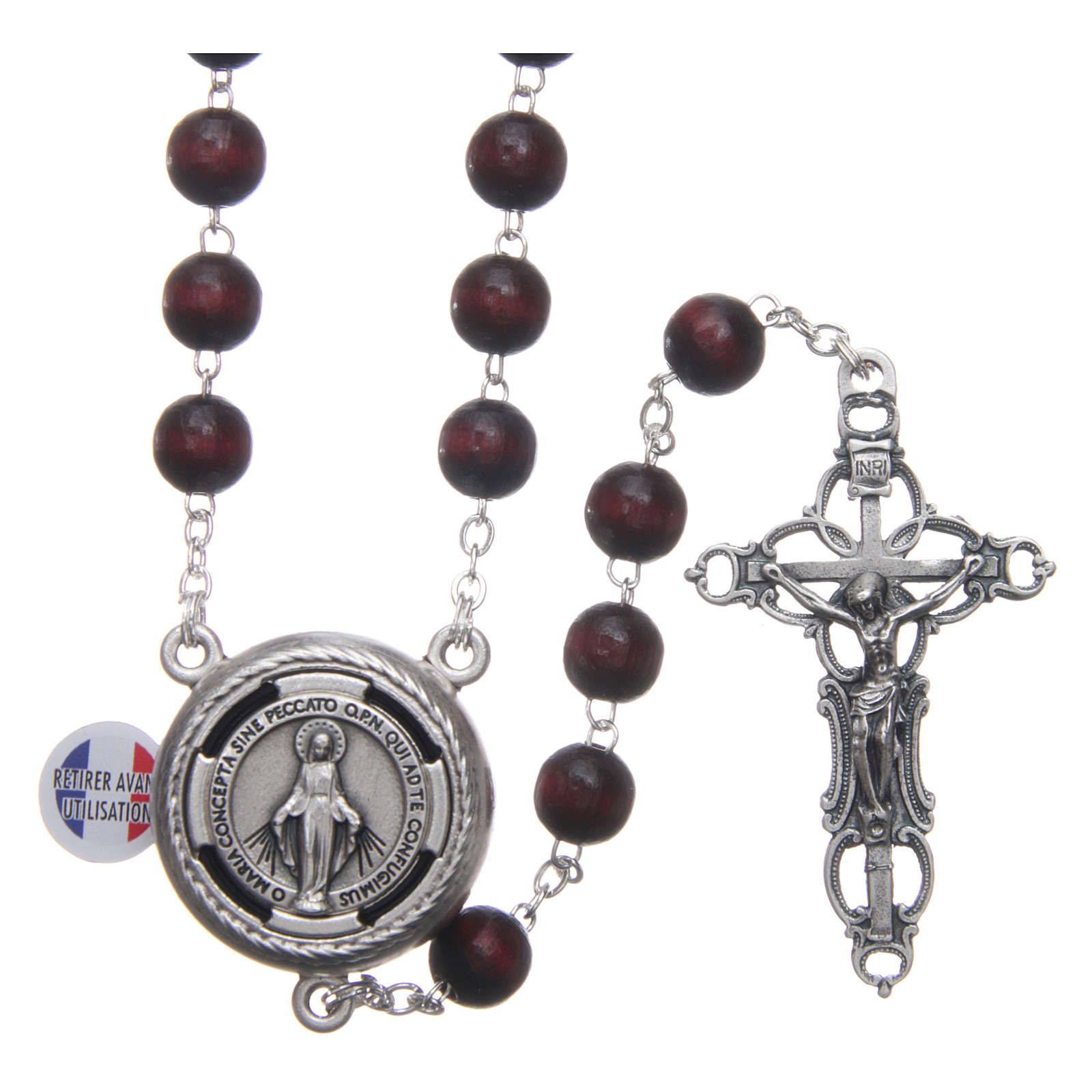 Wooden rosary burgundy with talking center piece Pope Francis prayer FRENCH 8 mm 4