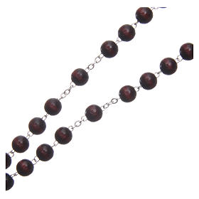 Wooden rosary burgundy with talking center piece Pope Francis prayer FRENCH 8 mm s3
