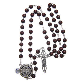 Wooden rosary burgundy with talking center piece Pope Francis prayer FRENCH 8 mm s4