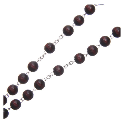 Wooden rosary burgundy with talking center piece Pope Francis prayer FRENCH 8 mm 3