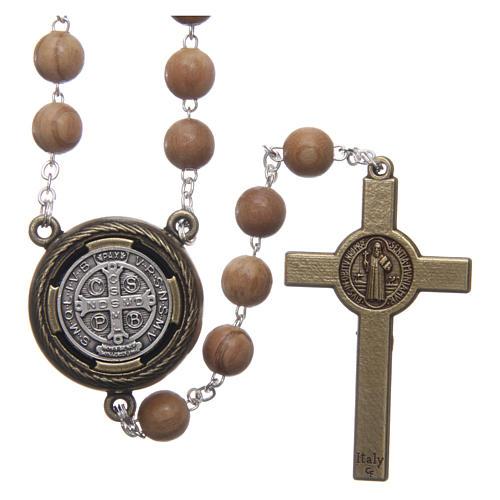 Rosenkranz aus hellem Holz Mittelstück mit Sprachfunktion Gebet des Heiligen Benedikt auf Spanisch