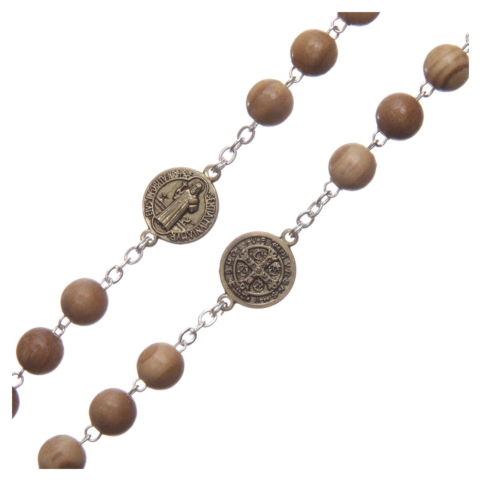 Chapelet bois clair médaille parlante prière St Benoît ESP 8 mm 4