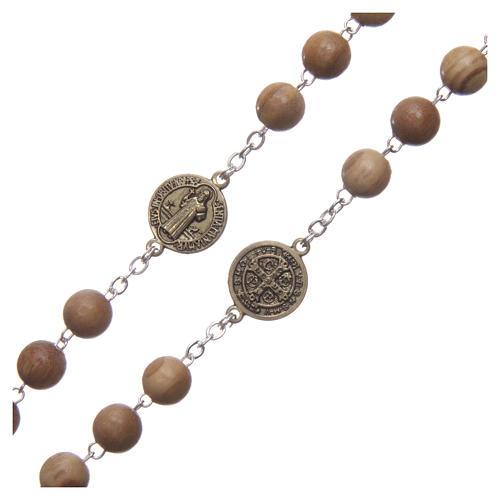 Chapelet bois clair médaille parlante prière St Benoît ESP 8 mm 3