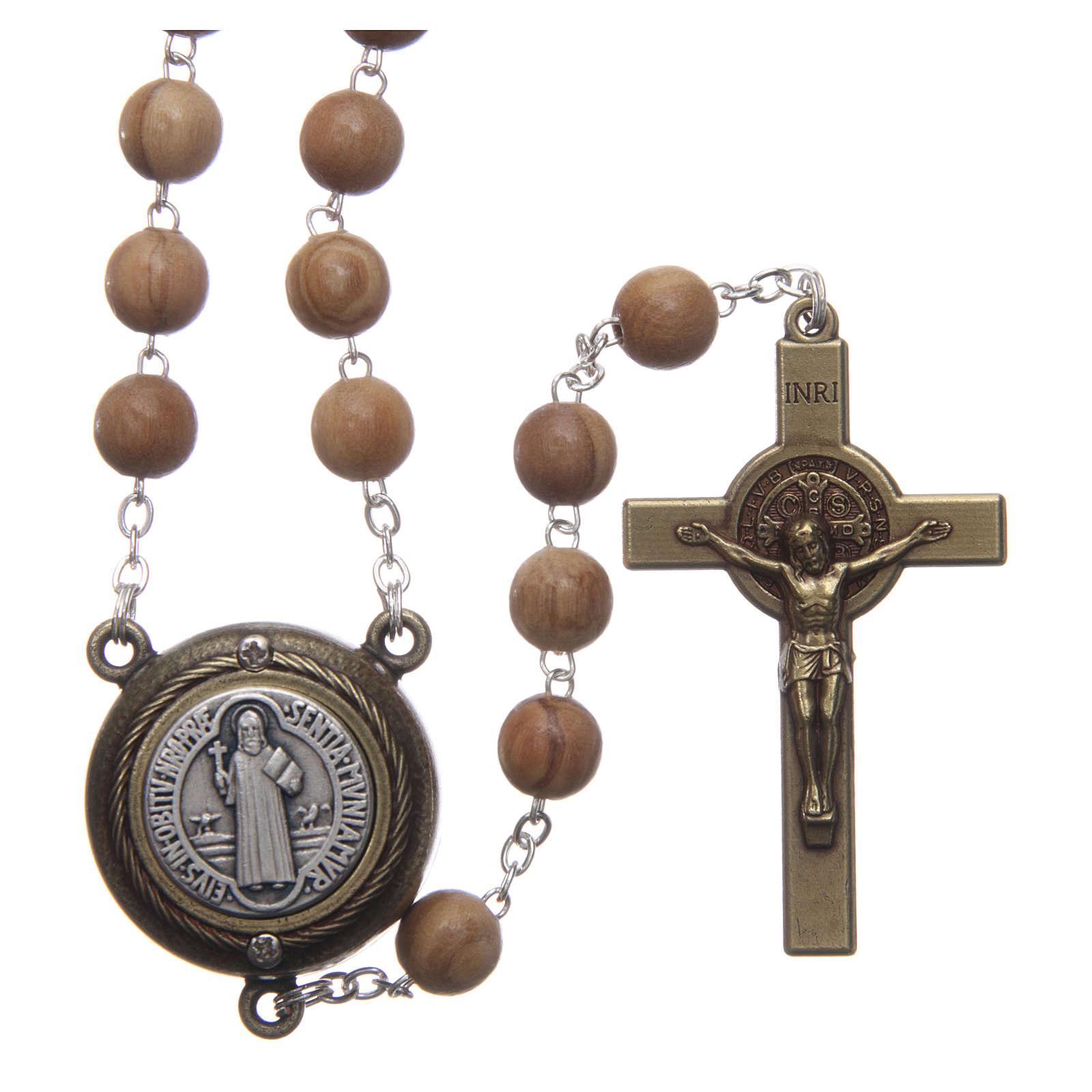Rosario legno chiaro crociera parlante preghiera S Benedetto SPA 8 mm 4