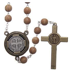 Terço madeira clara medalha falante oração São Bento ESP 8 mm