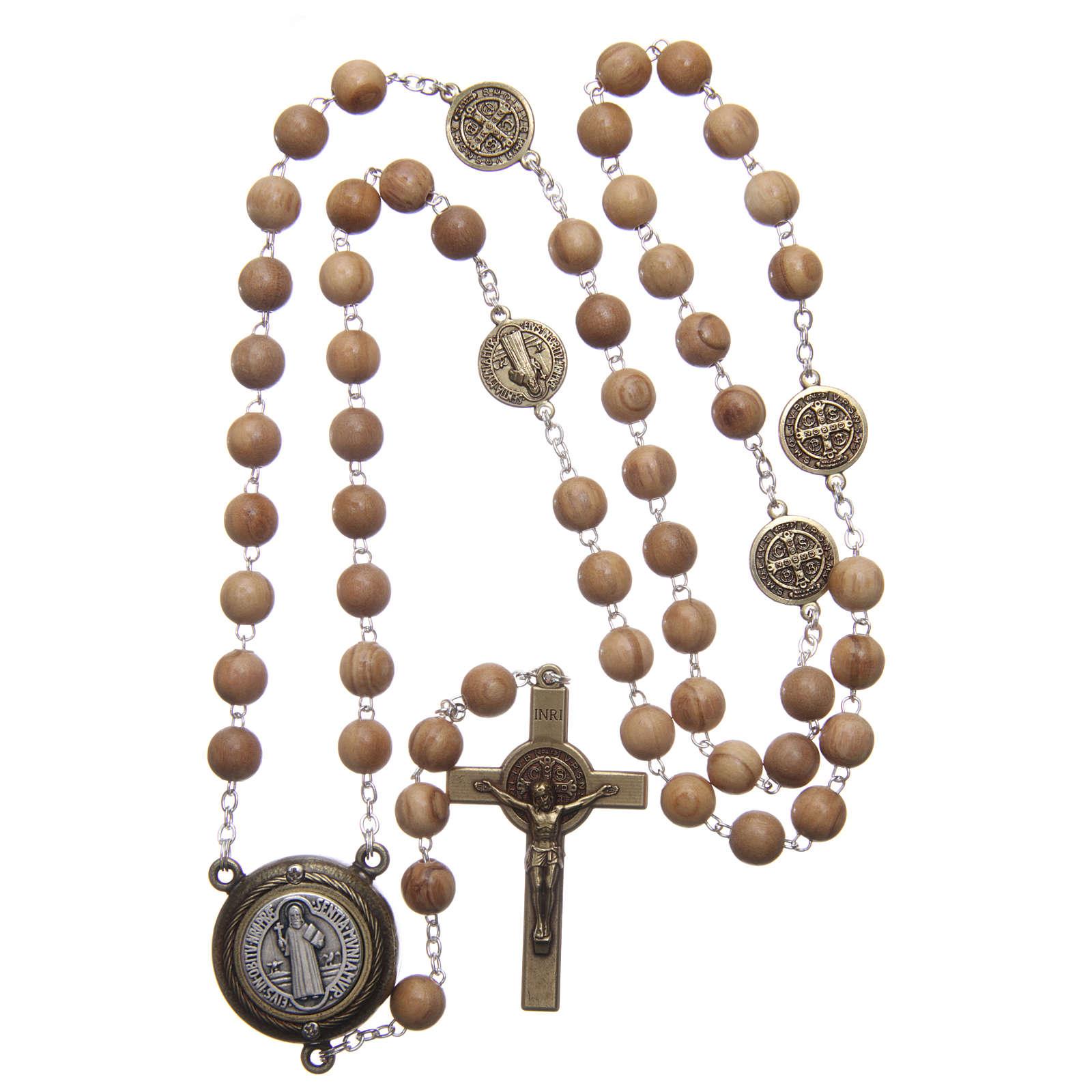 Saint Benedict rosary in light blue wood with talking center piece Saint Benedict prayer SPANISH 8 mm 4