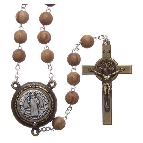 Saint Benedict rosary in light blue wood with talking center piece Saint Benedict prayer SPANISH 8 mm 1