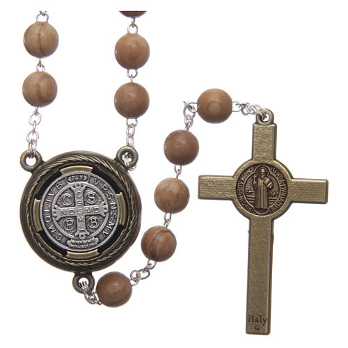 Saint Benedict rosary in light blue wood with talking center piece Saint Benedict prayer SPANISH 8 mm 2
