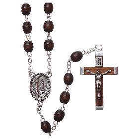 Our Lady of Lourdes wooden rosary 4x3 mm beads, dark brown s1